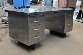 exposed metal for vintage steelcase tanker desk polish