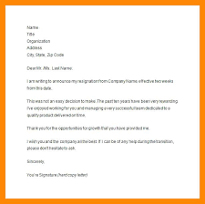 Letter Of Resignation 2 Weeks Notice Template Adorable Letter Of Resignation Email Notice Template 48 Month Willconwayco