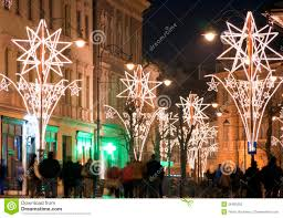 Christmas Lights For Street Lights Christmas Lights On Street With People Stock Photo Image