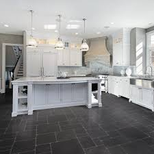 Kitchens With Dark Tile Floors And White Cabinets Laminate Tile