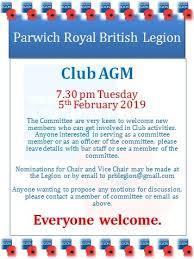 Legion Club Agm 2019 Parwich Org