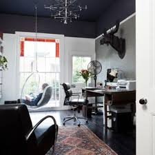 Living room home office ideas Endearing Example Of Transitional Freestanding Desk Black Floor Home Office Design In Birmingham With Black Walls Steamboat Resort Real Estate Long Narrow Room Home Office Ideas Photos Houzz
