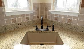 Composite Granite Kitchen Sinks Splendid Decorating Ideas Using Brown Brick Backsplash And Silver