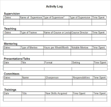 daily activities log template excel free activity log templates 10 word excel pdf formats