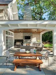 home backyard designs. inspiration for a timeless backyard stone patio remodel in minneapolis with roof extension and home designs
