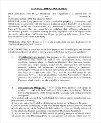 Nda Template Agreement Employee Nda Printable Non Disclosure Agreement Template