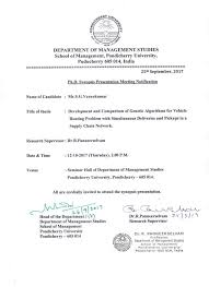 Ph D Synopsis Presentation Meeting Notification Of Mr S G
