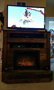 wooden pallet t v stand with faux fire place
