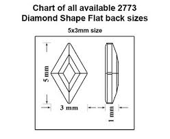 Genuine Swarovski 2773 Diamond Shape Flat Backs No Hotfix