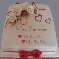 Wedding Anniversary Cake With Name Edit Birthdaycakefordaddyga