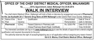 Pharmacist Jobs In Cdmo,malkangiri Jobs In Odisha