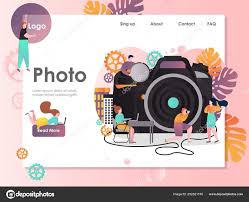 Professional Photographer Website Design Photo Vector Website Landing Page Design Template Stock