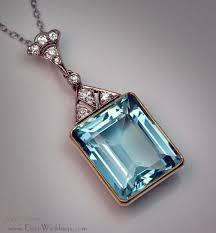 art deco aquamarine pendant necklace