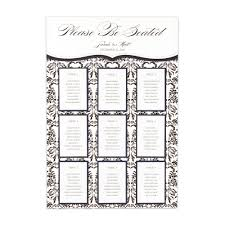 Wedding Table Seating Chart Personalized Seating Chart Kit With Love Bird Damask Design