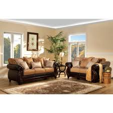 Furniture of America Frankford Livingroom Set in Tan and Espresso
