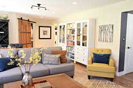 ikea office. Family Room With Sliding Farmhouse Style Barn Door To Home Office, Ikea Hemnes Bookcases And Bookshelves, Gray Sectional Gold Chartreuse Accents By Office
