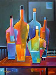 cubist painting abstract original art oil wine bottles guitar marlina vera modern contemporary artwork fauve vin bouteille peinture vino pop