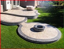 concrete patio with fire pit. Stamped Concrete Patio With Fire Pit | CONTRACTORS MICHIGAN - Decorative