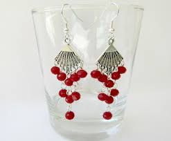 fan chandelier earrings red crystal earrings boho earrings bohemian chic earrings fan dangle earrings gift for her