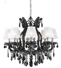 elegant lighting 2800d26b ss sh 1r6s maria theresa 9 light 28 inch black dining chandelier ceiling light in clear swarovski strass silver mini shades