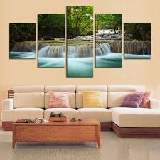 5 panel waterfall painting canvas wall art picture home decoration rh slybargains com canvas artwork for living room canvas for living room wall on wall art canvas for living room with canvas for living room 3d house drawing