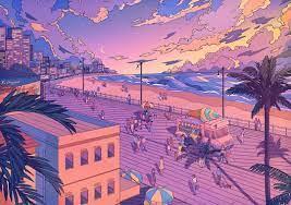 Beach aesthetic, Anime scenery