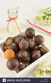 Bunch Of Chocolate Cake Pops In A Wooden Box Stock Photo 122656818