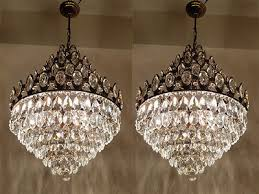 a pair of antique french basket style brass crystals huge chandeliers from 195