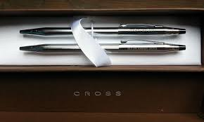 engraved personalized cross clic pen and pencil gift set chrome 350105
