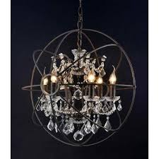 6 light foucault s iron orb crystal chandeliers rustic md2080 6rr