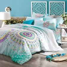 amazing turquoise aqua blue purple and yellow bohemian tribal style circle aqua blue bedding sets plan