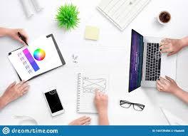 Flat Web Design Color Palette Top View Scene Of Web Design Team Work Desk Laptop Computer
