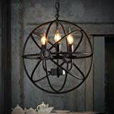 chandelier and pendant lighting. perfectshow 4lights vintage edison metal shade round hanging ceiling chandelier retro iron rustic spherical and pendant lighting o