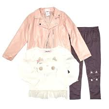 toddler pink leather jacket girls 3 piece faux outfit set childrens
