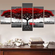 Modern Canvas Frame <b>Pictures HD</b> Prints <b>5 Pieces</b> Red Tree Red ...