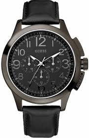 men s guess black out leather watch u10628g1