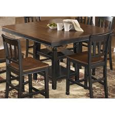 elegant square black mahogany dining table: signature design by ashley owingsville square black brown extension dining table