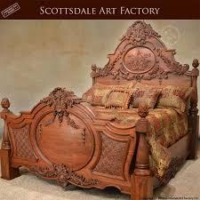Hand Carved Walnut Bed: Fine Art Wood Carvings By Master Craftsmen ...