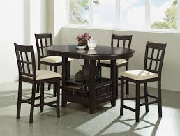 5 piece round counter height table set in dark cherry finish by coaster 100888