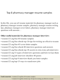 Top 8 pharmacy manager resume samples In this file, you can ref resume  materials for ...