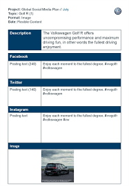 Social Media Plan Template Stunning Project Global Social Media Plan July Topic Golf R 48 Format