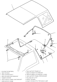 1 exploded view of the factory installed soft top mounting used with 2 door sidekick and tracker models