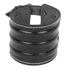 <b>Genuine Black Leather</b> Stitched Vein <b>Mens</b> Wrist <b>Bracelet</b> Men
