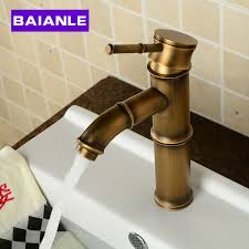 deck mounted antique brass wealth bamboo basin faucet bathroom vessel sink mixer tap factory direct brass classic design style in basin faucets from home