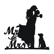 Cake Topper With Dog Pet Mr Mrs Bride And Groom Silhouette Funny