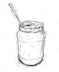 ベクトル芸術的なイラストやジャムマーマレードや蜂蜜の瓶スプーンの図面