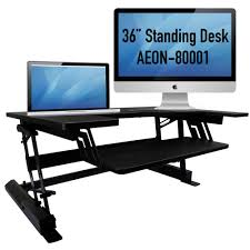 com standing desk for home or office 36 wide sit to stand workstation aeon 80001 office s