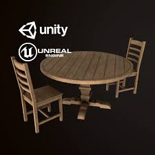 wood round dining table chair set pbr game ready low poly 3d model
