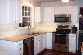 off white kitchen cabinets with light granite fresh f white subway tile backsplash