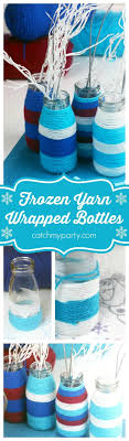 Disney Frozen yarned-wrapped bottles perfect for a party centerpiece or  party activity. Easy